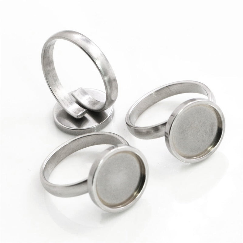 Stainless Steel Round Adjustable Thick Ring Settings Blank Base Cabochon Fit 12mm Wholesale (5pcs)