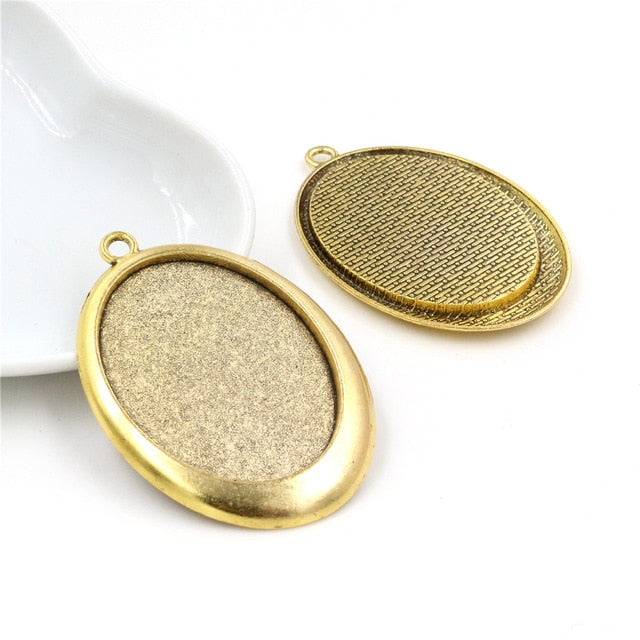 Pendant Oval Cabochon Blank Base Setting Smile Style Inner Size 30x40mm Wholesale (5pcs)