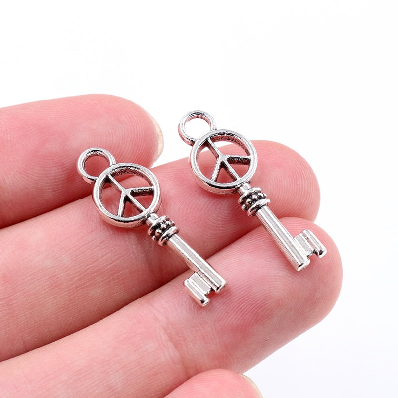 Key Peace Metal Charms, 26x9mm, Wholesale (20pcs)