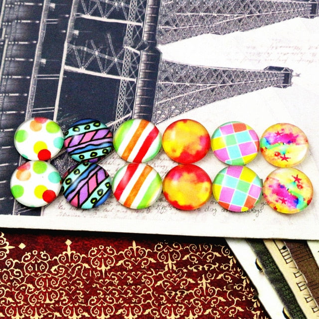 Round Flat Back Photo Glass Mixed Set Cabochons 12mm, High Quality, Wholesale (12pcs)