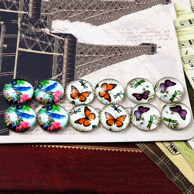 Round Flat Back Photo Glass Mixed Set Cabochons 12mm, Butterfly, High Quality, Wholesale (12pcs)