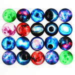 Round Flat Back Photo Glass Mixed Cabochons 20mm / 25mm, Luminous Stars, Glow in the dark, High Quality, Wholesale (10pcs)