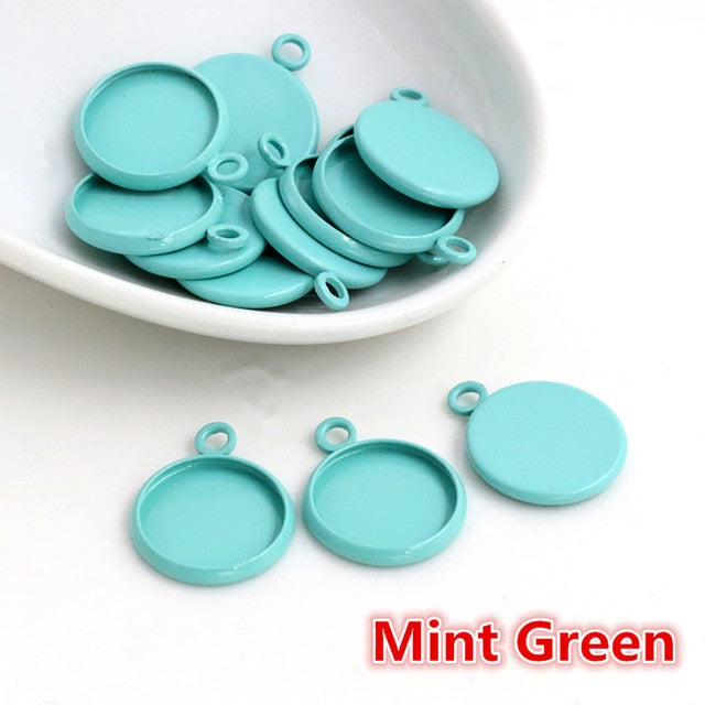 Pendant Round Cabochon Blank Base Setting Colors Simple Style Inner Size 12mm Wholesale (20pcs)