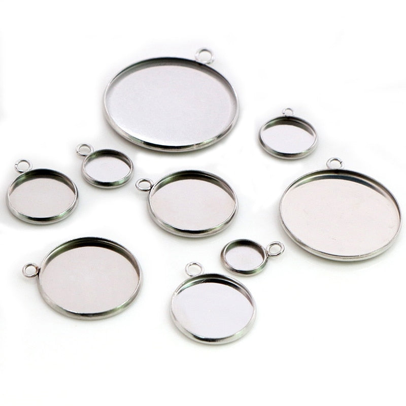 Stainless Steel Pendant Round Cabochon Blank Base Setting Simple Style Inner Size 8mm / 10mm / 12mm / 14mm / 16mm / 18mm / 20mm / 25mm / 30mm Wholesale