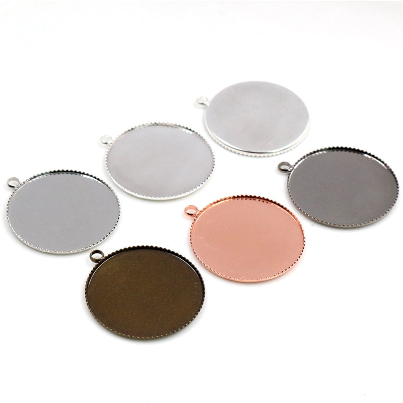 Pendant Round Cabochon Blank Base Setting Double Side Simple Style Inner Size 25mm Wholesale (10pcs)