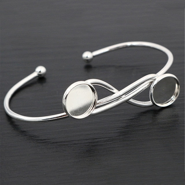 Bracelet Bangle Round Cabochon Blank Base Settings Inner Size 12mm Wholesale (2pcs)
