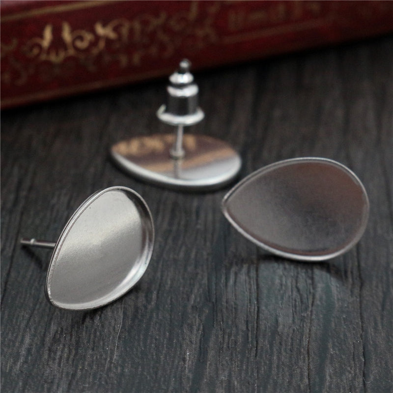 Stainless Steel Stud Earrings Drop Shape Blank Base Cabochon Fit 10x14mm Wholesale (20pcs)