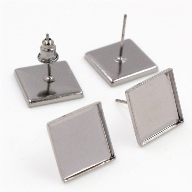Stud Earrings Square Blank Base Cabochon Wholesale Fit 12mm (20pcs)