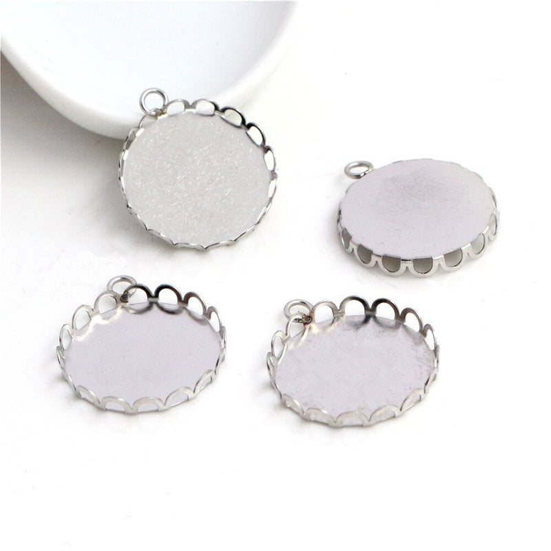 Stainless Steel Pendant Round Cabochon Blank Base Setting Simple Style Inner Size 20mm Wholesale (10pcs)