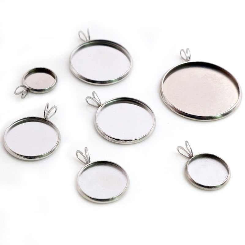 Stainless Steel Pendant Round Cabochon Blank Base Setting Simple Style Inner Size 8mm / 10mm / 12mm / 14mm / 16mm / 18mm / 20mm / 25mm Wholesale