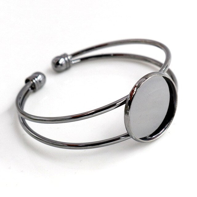 Bracelet Bangle Round Cabochon Blank Base Settings Inner Size 20mm (1 piece)
