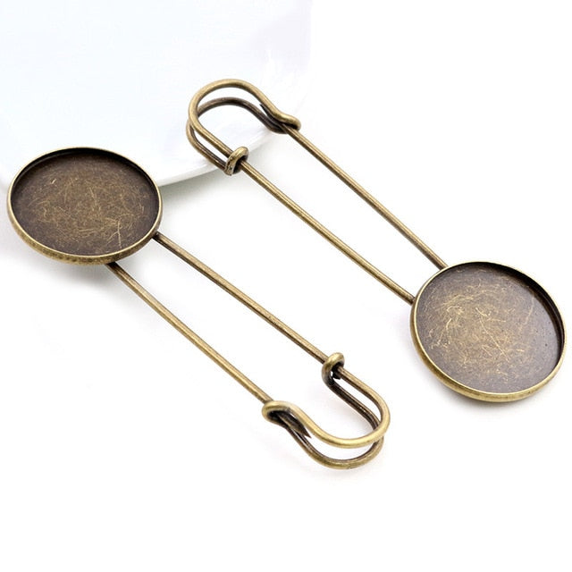 Safety Brooch Pin Blank Base Cabochon Setting Round Inner Size 18mm / 20mm / 25mm Wholesale (5pcs)