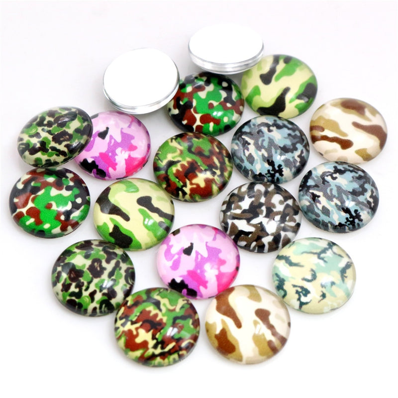 Round Flat Back Photo Glass Mixed Cabochons 8mm / 10mm / 12mm / 14mm / 16mm / 18mm / 20mm / 25mm, Camouflage, High Quality, Wholesale