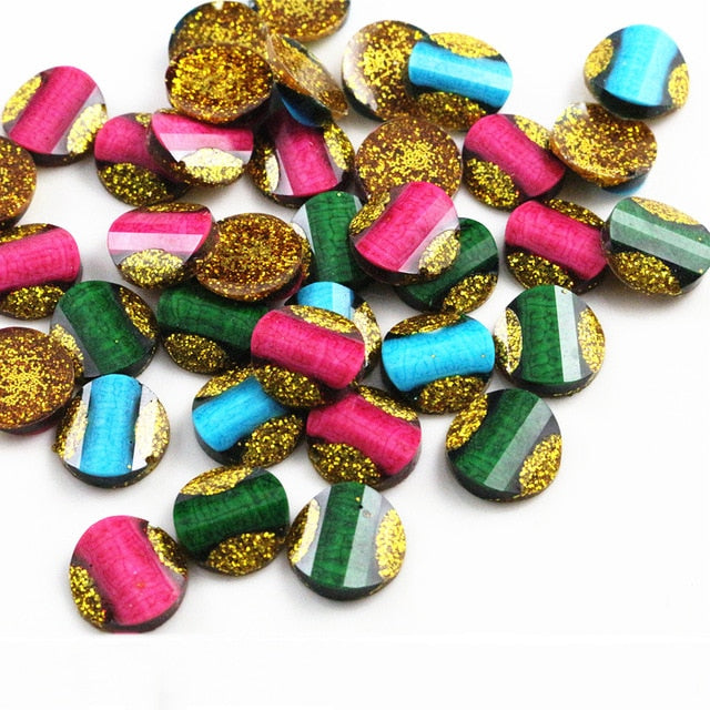 Round Flat Back Resin Cabochons 12mm, Wholesale (40pcs)