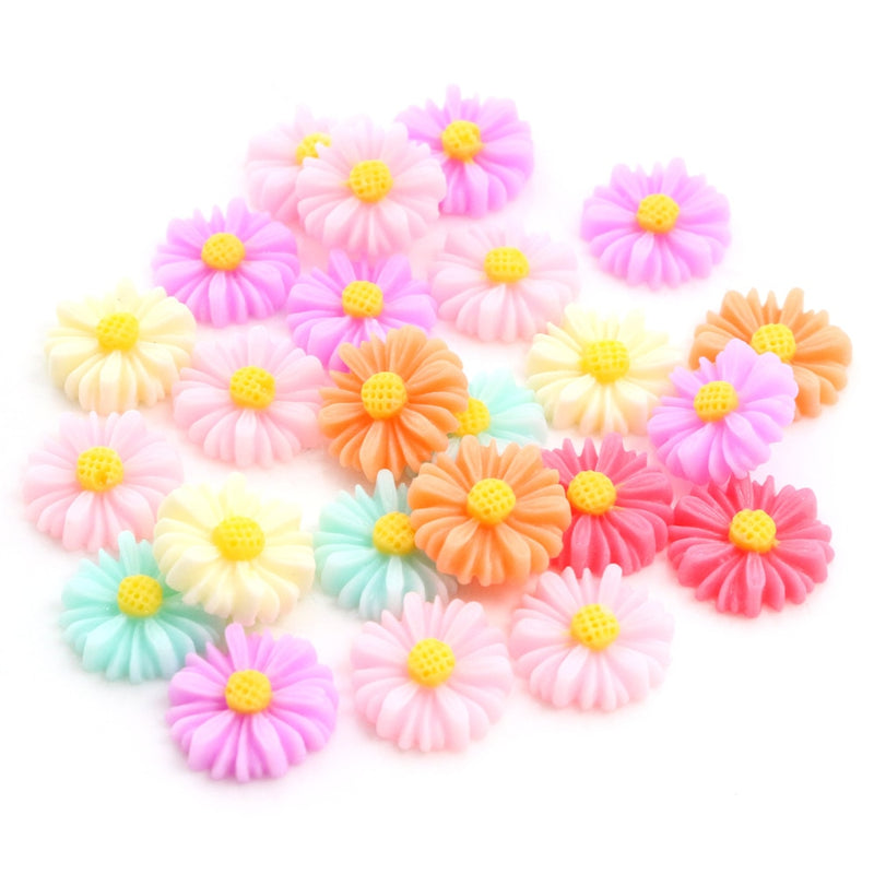 Flower Round Flat Back Acrylic Cabochons 10mm, 12mm, Mixed Colors Flowers, Wholesale (40pcs)