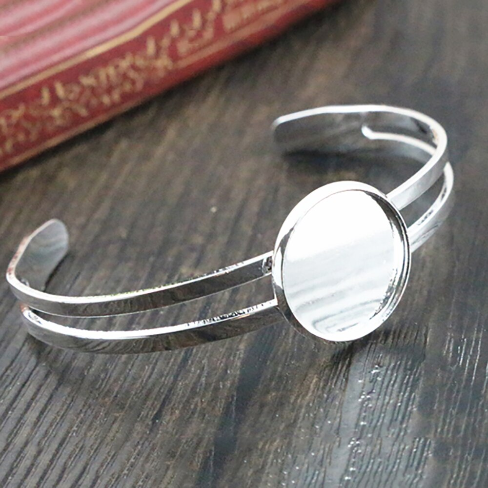 Bracelet Bangle Round Cabochon Blank Base Settings Inner Size 16mm Wholesale (2pcs)