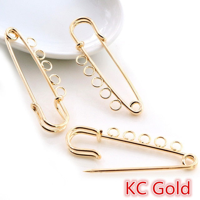 Safety Brooch Pins Blank Base Findings 50x15mm Wholesale (5pcs)