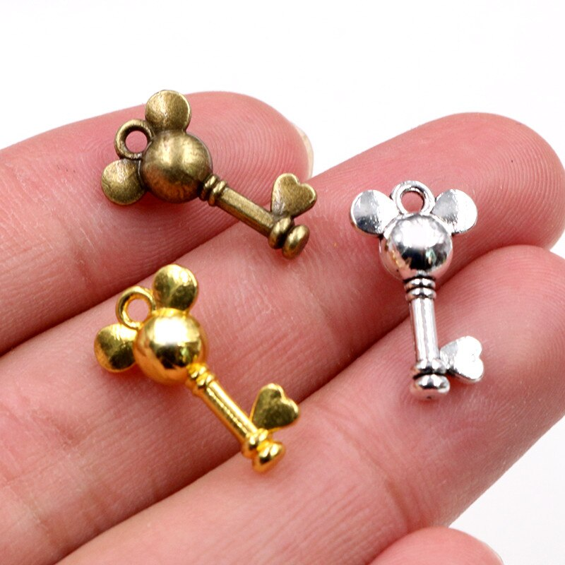 Key Mouse Metal Charms, 19x12mm, Wholesale (20pcs)