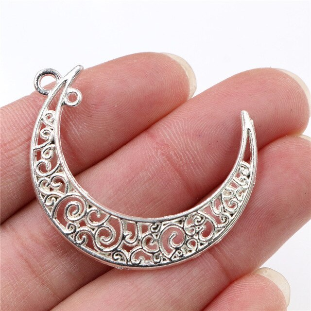 Moon Metal Charms, 41x30mm, Wholesale (10pcs)