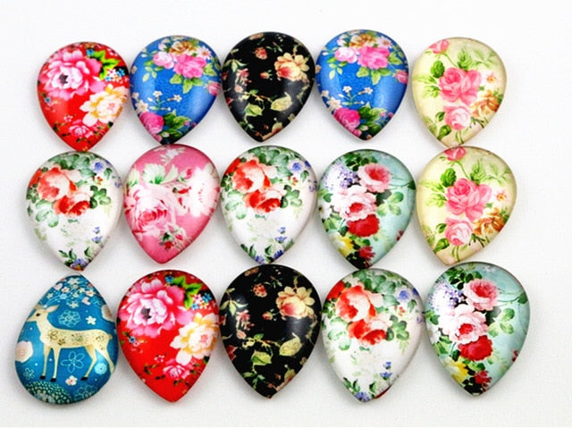 Drop Flat Back Photo Glass Mixed Colors Cabochons 18x25mm, Flowers, High Quality, Wholesale (10pcs)