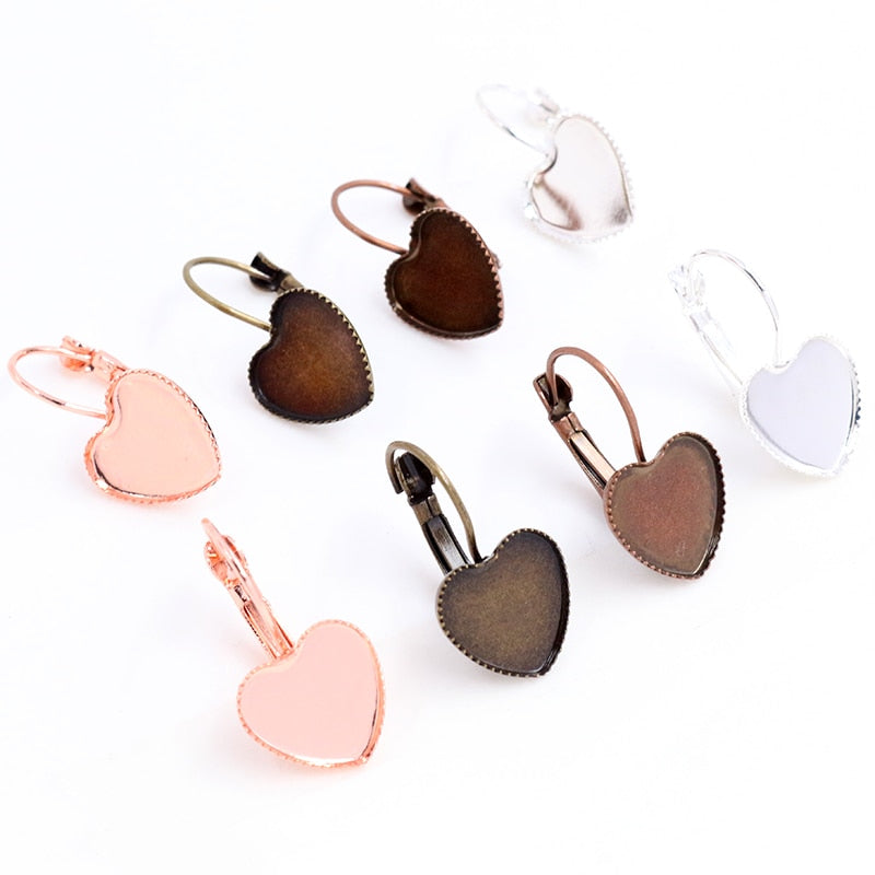 Lever Back Earrings Heart Shape Blank Base Cabochon Fit 12mm Wholesale (10pcs)