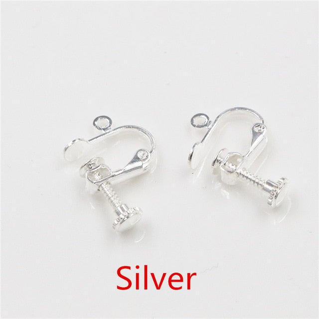 Screw Earring Clips, Non Pierced Ears, 15x13mm, Wholesale (10pcs)