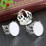 Oval Adjustable Ring Settings Blank Base Cabochon Fit 10x14mm, 13x18mm, 18x25mm, Wholesale (5pcs)