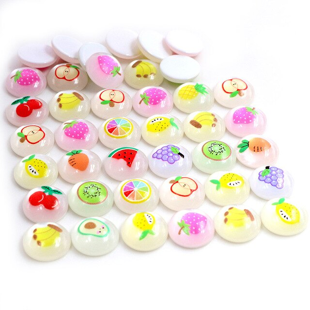 Round Flat Back Resin Cabochons 12mm, Fruits, Wholesale (40pcs)