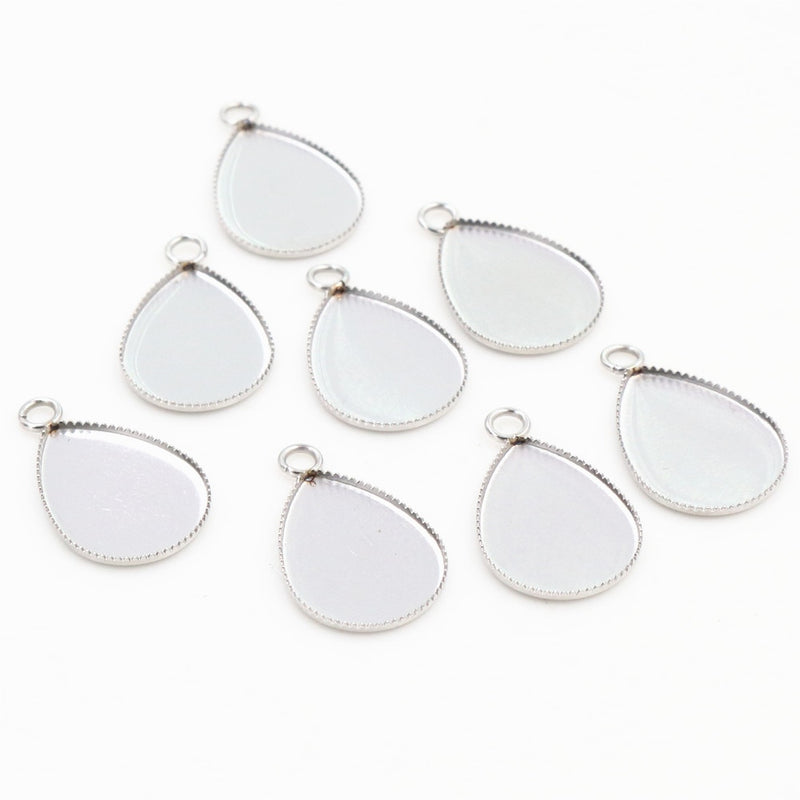 Stainless Steel Pendant Drop Shape Cabochon Blank Base Setting Simple Style Inner Size 13x18mm Wholesale (20pcs)