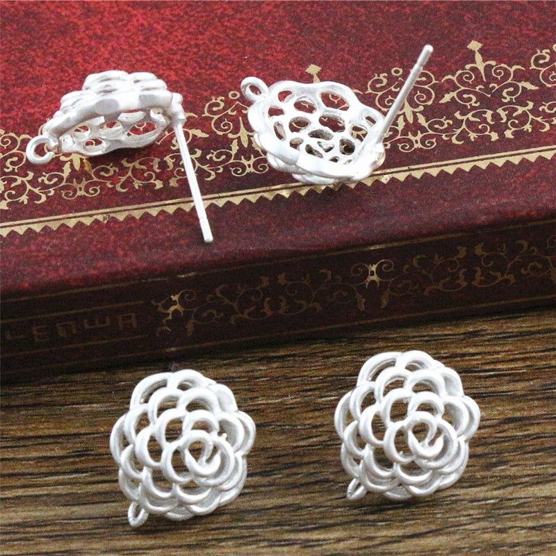 Stud Earrings Flower 12x11mm Wholesale (6pcs)