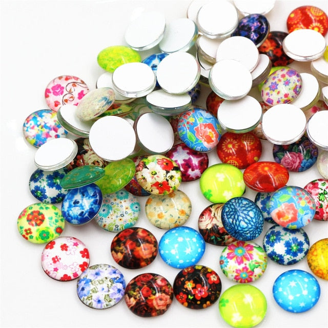 Round Flat Back Photo Glass Mixed Cabochons 12mm, Flowers,  High Quality, Wholesale (50pcs)