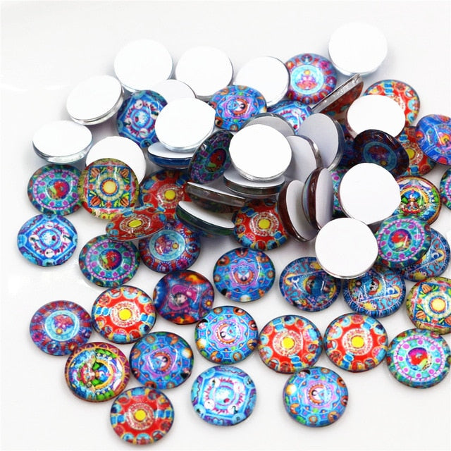 Round Flat Back Photo Glass Mixed Cabochons 12mm, High Quality, Wholesale (50pcs)