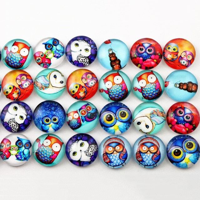 Round Flat Back Photo Glass Mixed Cabochons 12mm, Owls, High Quality, Wholesale (50pcs)
