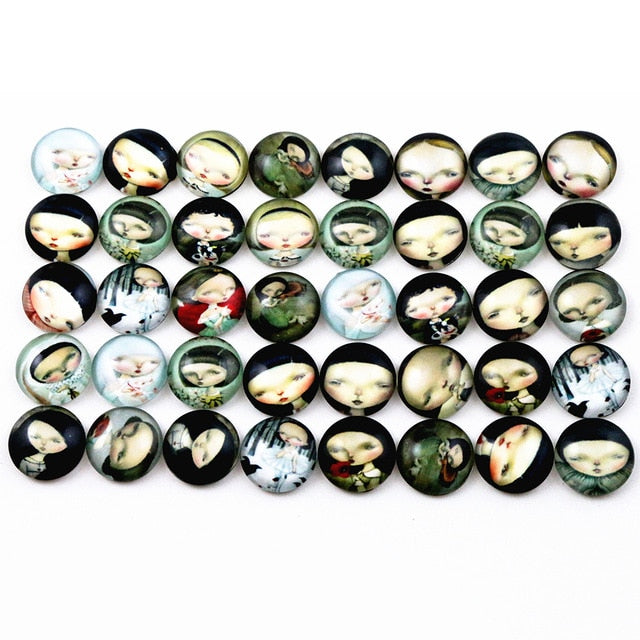 Round Flat Back Photo Glass Mixed Cabochons 12mm, Girl, High Quality, Wholesale (50pcs)