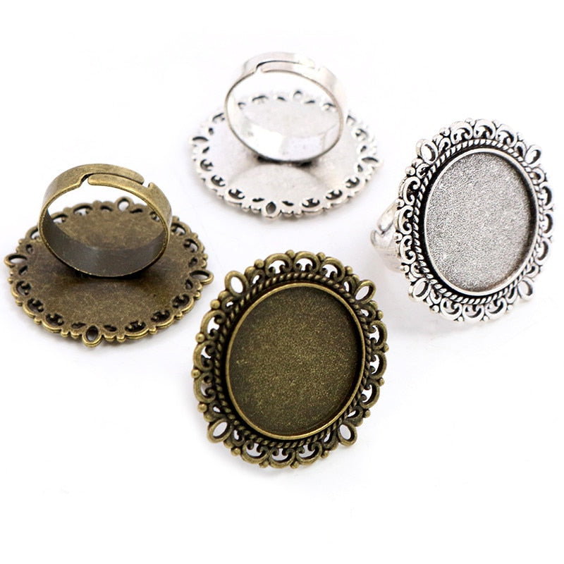 Round Adjustable Ring Settings Blank Base Cabochon Fit 20mm Wholesale (5pcs)