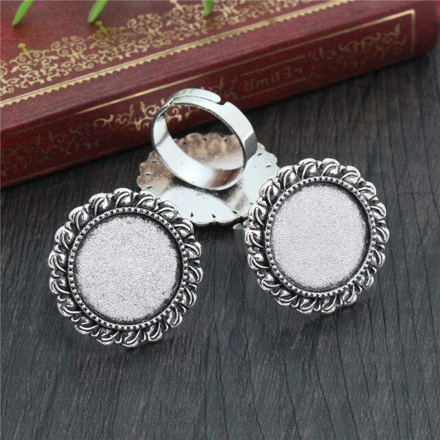 Round Adjustable Ring Settings Blank Base Cabochon Fit 18mm Wholesale (5pcs)