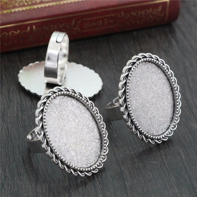 Oval Adjustable Ring Settings Blank Base Cabochon Fit 18x25mm Wholesale (5pcs)