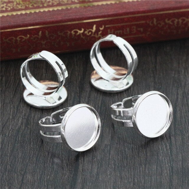 Round Adjustable Ring Settings Blank Base Cabochon Fit 12mm Wholesale (10pcs)