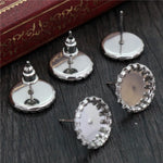 Stainless Steel Stud Earrings Round Blank Base Cabochon Fit 8mm/ 10mm/ 14mm Wholesale (20pcs)