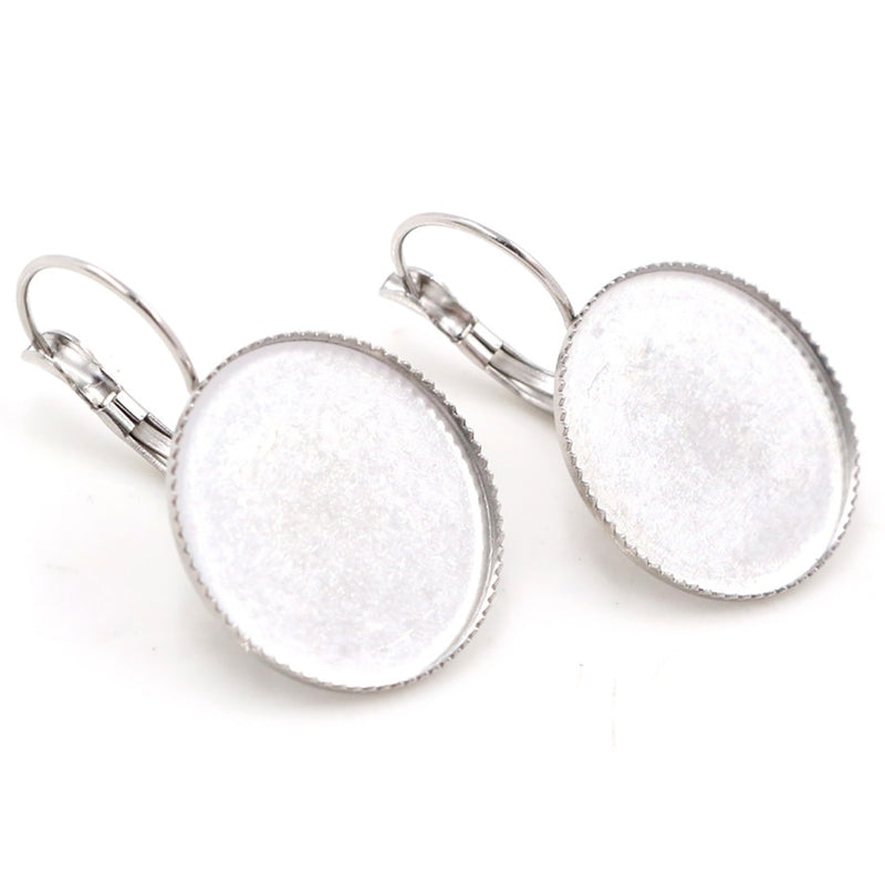 Stainless Steel Lever Back Earrings Round Blank Base Cabochon Fit 18mm, 20mm, 25mm, Wholesale (10pcs)
