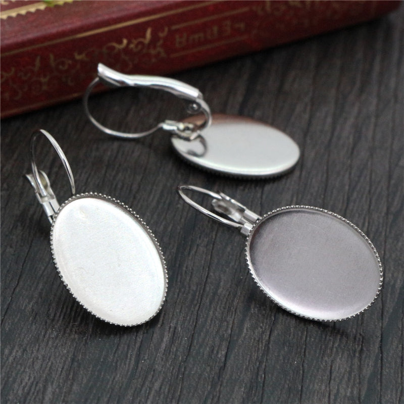 Stainless Steel Lever Back Earrings Oval Blank Base Cabochon Wholesale (10pcs)