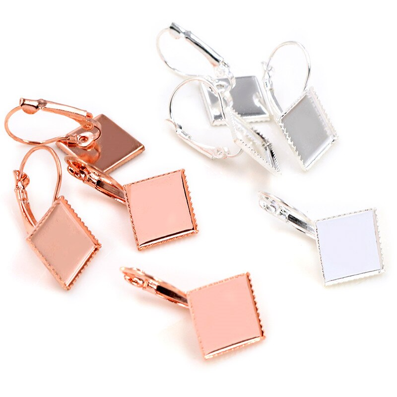 Lever Back Earrings Square Blank Base Cabochon Fit 12mm Wholesale (10pcs)
