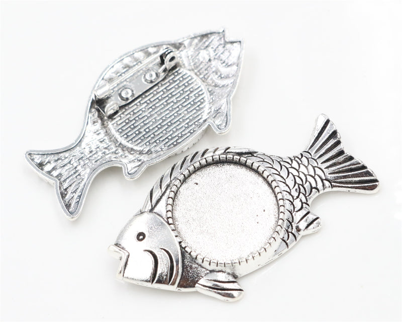 Brooch Pin Blank Base Cabochon Vintage Style Fish Cameo Setting Round Inner Size 20mm Wholesale (5pcs)