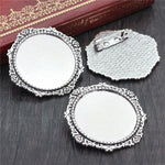 Brooch Pin Blank Base Cabochon Vintage Style Cameo Setting Round Inner Size 30mm Wholesale (5pcs)