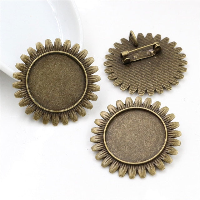 Brooch Pin Blank Base Cabochon Vintage Style Flower Cameo Setting Round Inner Size 25mm Wholesale (5pcs)