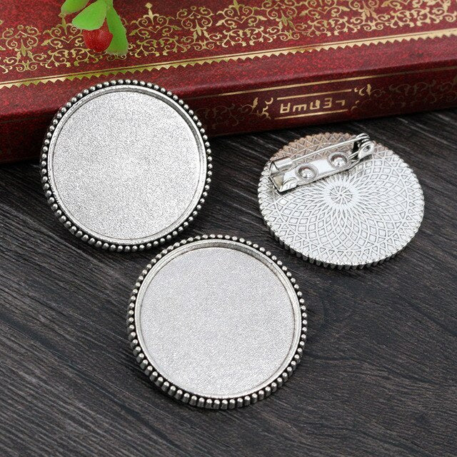 Brooch Pin Blank Base Cabochon Vintage Style Setting Round Inner Size 25mm Wholesale (5pcs)