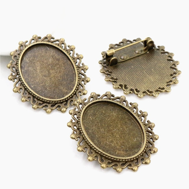 Brooch Pin Blank Base Cabochon Vintage Style Setting Oval Inner Size 18x25mm Wholesale (5pcs)