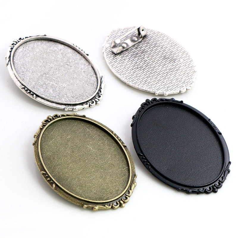 Brooch Pin Blank Base Cabochon Vintage Style Setting Oval Inner Size 30x40mm Wholesale (5pcs)