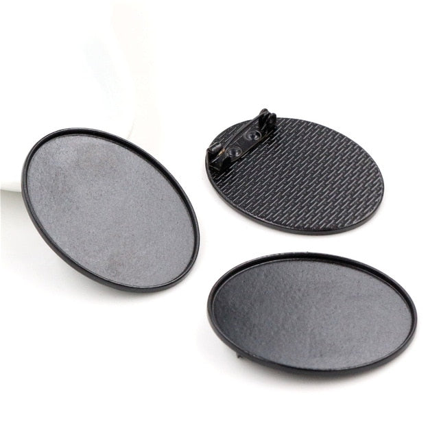 Brooch Pin Blank Base Cabochon Simple Style Setting Oval Inner Size 30x40mm Wholesale (5pcs)
