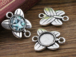 Bracelet Round Cabochon Blank Base Butterfly Two Loops Settings Inner Size 12mm Wholesale (20pcs)